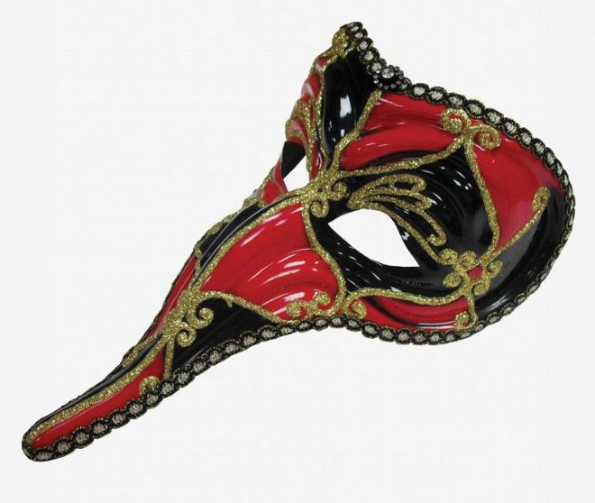 Red & Black Long Nose face mask (headband or ribbons)
